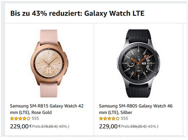 Samsung Galaxy Watch LTE für 229 €