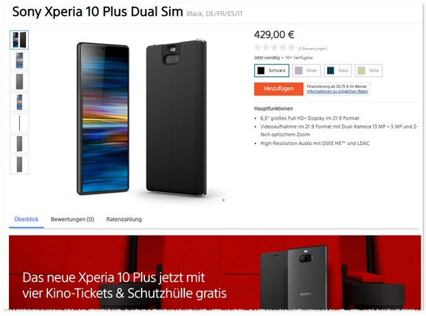 Sony Xperia 10 Plus Angebot