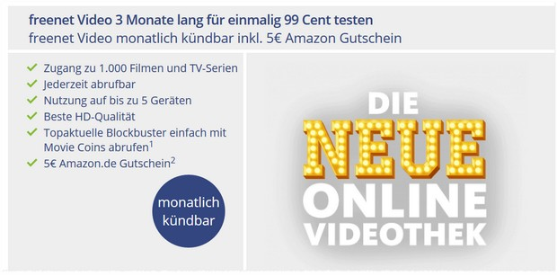 freenet Video: 3 Monate für 99 Cent + gratis Amazon-Gutschein (5 €)