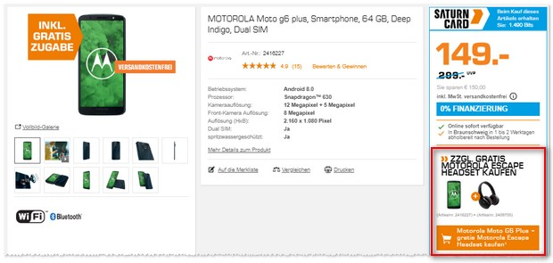 Moto G6 Plus mit Headset
