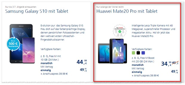 o2 Free M Boost + Huawei Mate 20 Pro + Tablet