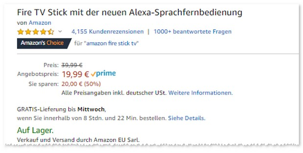 Amazon Fire TV Stick zum Prime Day für 19,99 €