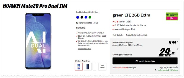 Huawei Mate 20 Pro mit Telekom green LTE 2 GB (md)