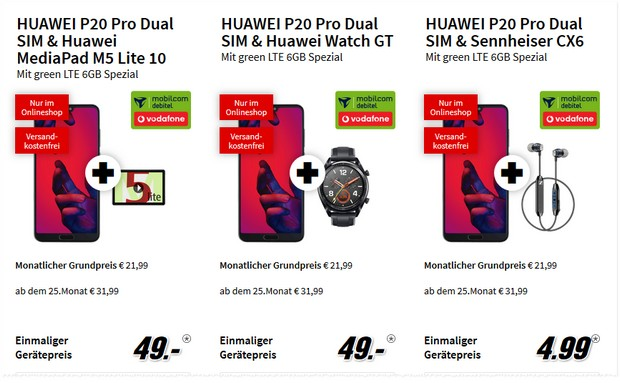 Huawei P20 Pro + green LTE 6 GB + Tablet