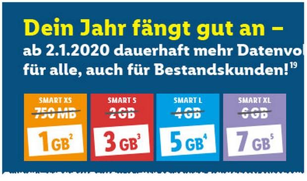 LIDL CONNECT Smart S mit 3GB LTE ab 2.1.2020