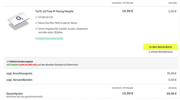 o2 Free M Young People Deal für 14,99 € im Monat