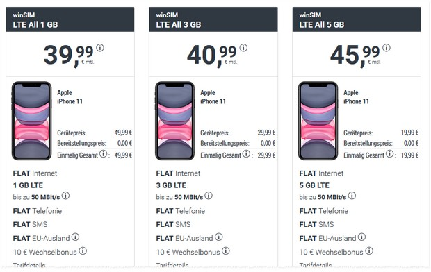 iPhone 11 + winSIM LTE All 3 GB im Angebot