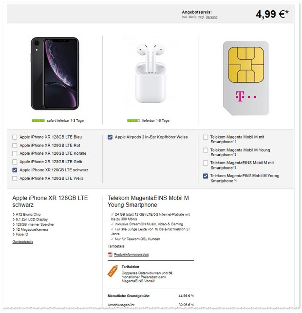 Magenta Mobil M Young (MagentaEINS) + iPhone Xr mit 128 GB