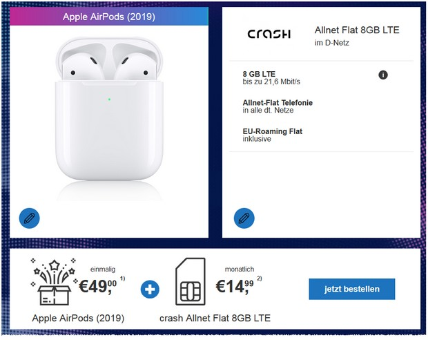 """Dealparty"" mit crash Allnet-Flat 8 GB LTE und AirPods 2"