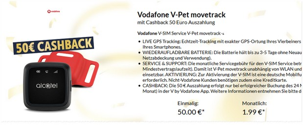 Vodafone V-Pet Movetrack Angebot