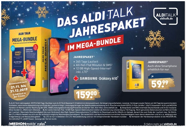 ALDI TALK Mega-Bundle mit Samsung Galaxy A10