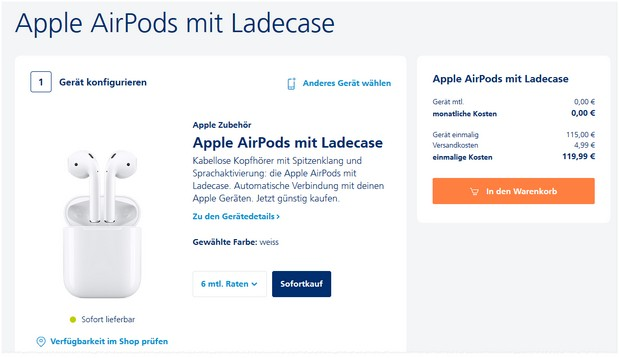 Apple AirPods 2 im o2 Angebot (Black Deals)