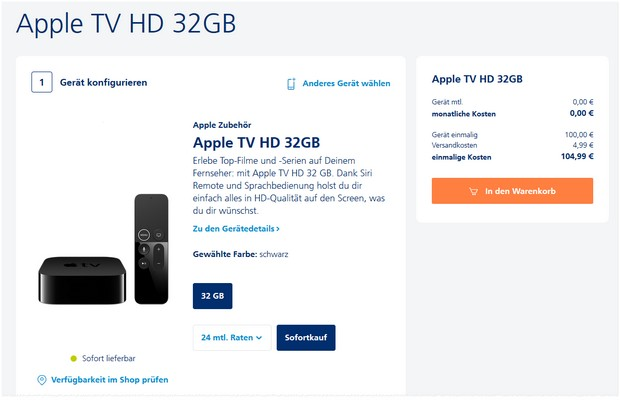 Apple TV HD (32 GB) im o2 Black Week Sale für 100 €