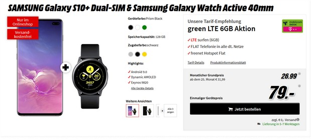 Samsung Galaxy S10 Plus + Galaxy Watch Active vom 26,99 € im Monat