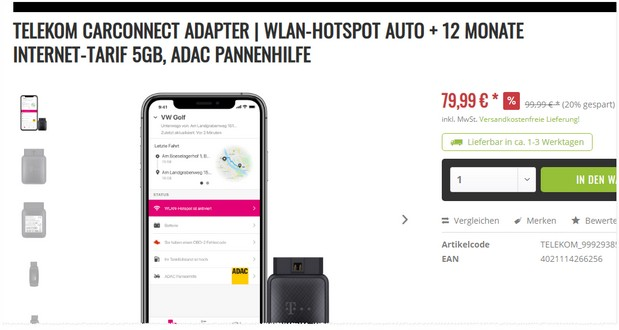 Telekom Car Connect zum Black Weekend