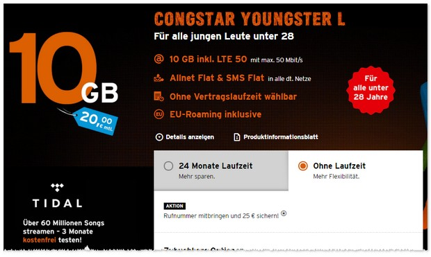 congstar Youngster L ohne Laufzeit