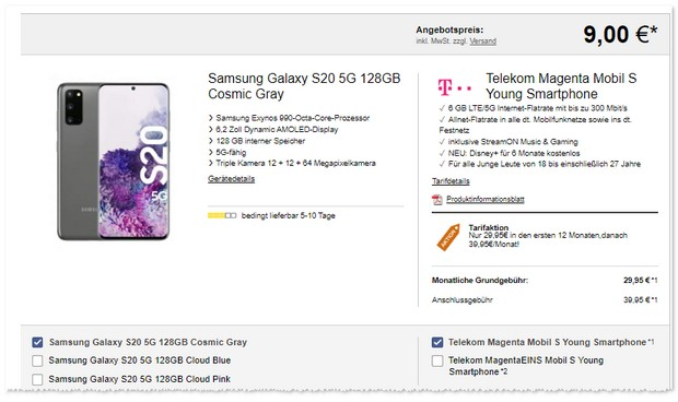 Samsung Galaxy S20 5G + Telekom Magenta Mobil S Young