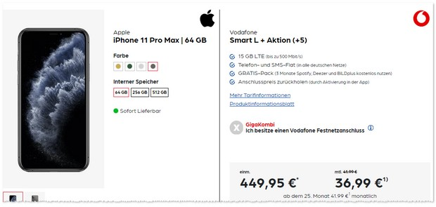 iPhone 11 Pro Max mit Vodafone Smart L Plus billiger