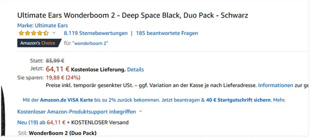 Starker UE Wonderboom Deal bei amazon.de