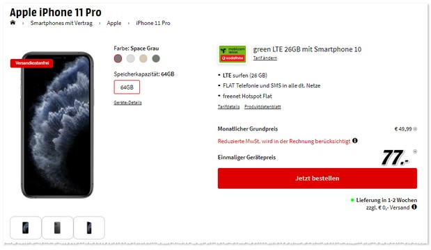 iPhone 11 Pro + green LTE 26 GB im Vodafone-Netz