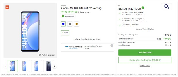 Xiaomi Mi 10T Lite + o2 Blue All-in M