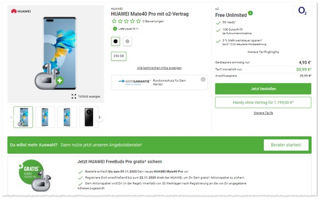 Huawei Mate 40 Pro + o2 Free Unlimited Max