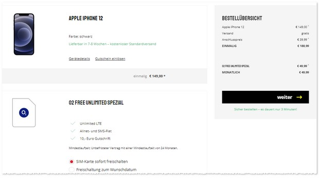 iPhone 12 + o2 Free Unlimited Max Spezial noch billiger