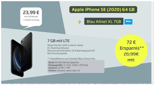 iPhone SE 2020 mit Blau Allnet Flat XL