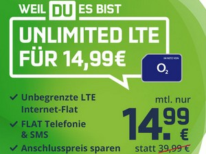 o2 Free Unlimited Smart (mobilcom-debitel) für 14,99 €