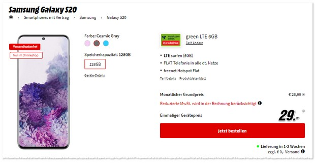 Samsung Galaxy S20 mit Vodafone green LTE 6 GB (md)