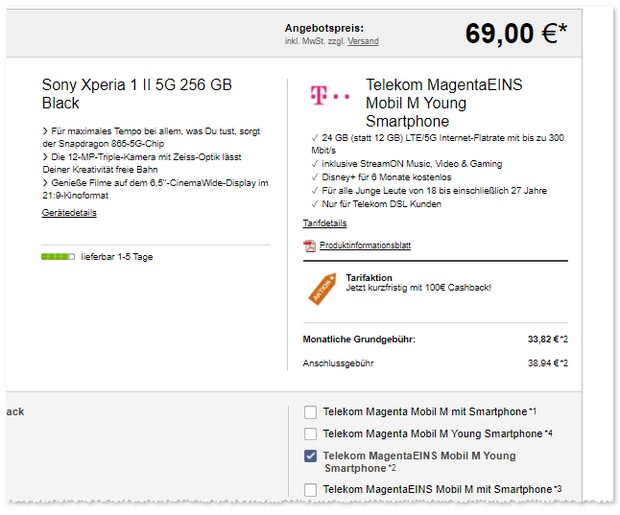 Sony Xperia 1 II + Magenta Mobil M Young (mit MagentaEINS)
