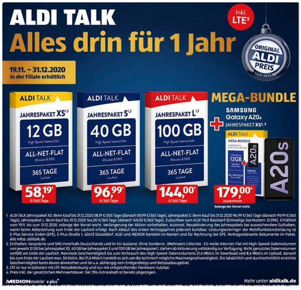 ALDI TALK Mega-Bundle mit Galaxy A20s