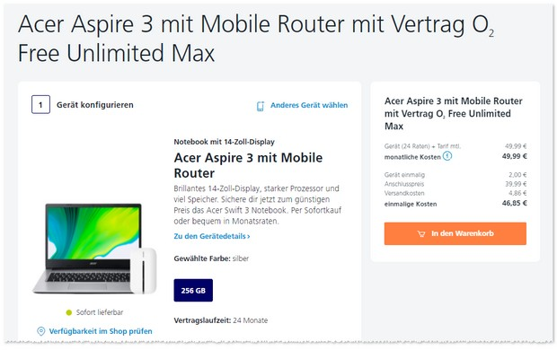 o2 Free Unlimited Max mit Acer Aspire Notebook und Router