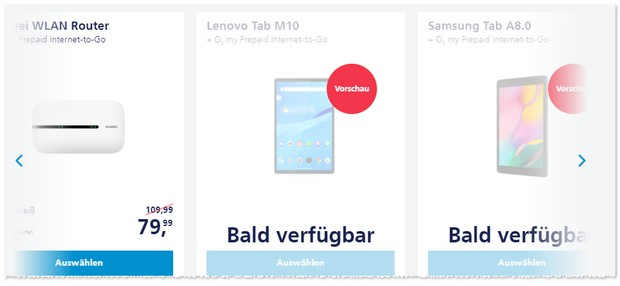 Tablet mit o2 Prepaid Internet-to-Go Datentarif