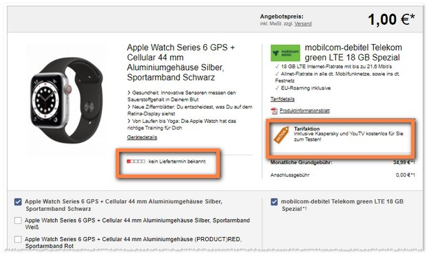 Telekom green LTE 18 GB (md) + Apple Watch Series 6