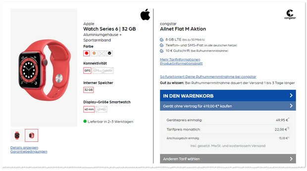 congstar (8GB) und Apple Watch Series 6