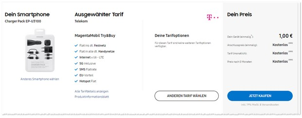 Magenta Mobil Try & Buy mit Charger Pack im Samsung Online Shop
