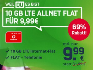 Vodafone green LTE 10 GB (md) mit 9,99 € Aktion