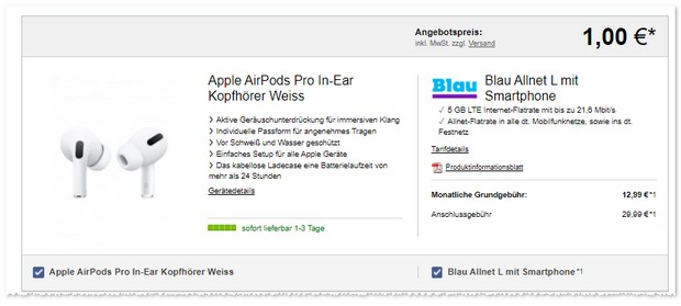 Apple AirPods Pro mit Blau Allnet Flat
