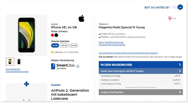 iPhone SE 2020 mit Telekom Magenta Mobil Special M Young